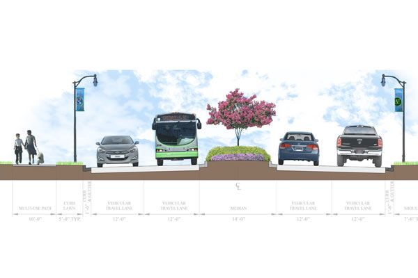 Verdae Blvd Concept drawing, showing raised median