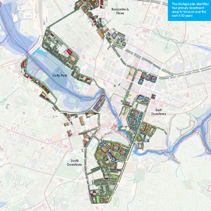 Map showing focus areas of the Downtown Master Plan study