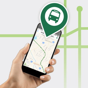 Hand holding a phone showing a bus route
