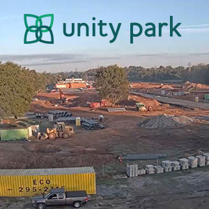 screenshot of Unity Park webcam with park logo at top