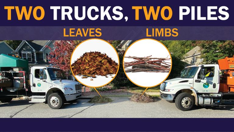 Two Trucks, Two Piles - image of two trucks - one for sticks and one for leaves